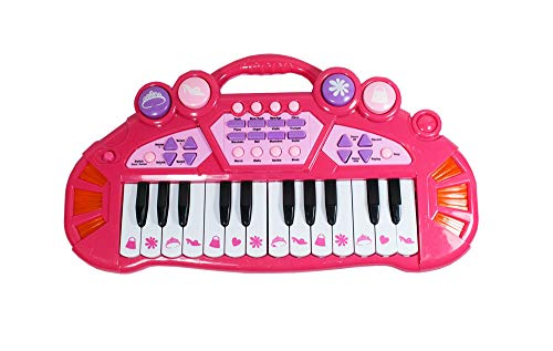 LilPals' Child Prodigy Piano - Start Them Young with A Multi-Functional Electronic Kids Keyboard with Adjustable Volume, 4 Different Instruments Sounds Piano, Trumpet, Guitar & Violin (Pink)