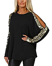 - Fashion style: YOINS women cold shoulder cut out top blouse, decorating with gloss sequins makes you more elegant and charming, gaining praise from others. - Feature: Casual style, Long sleeve, round neck, cold shoulder/off shoulder, cutout design,...