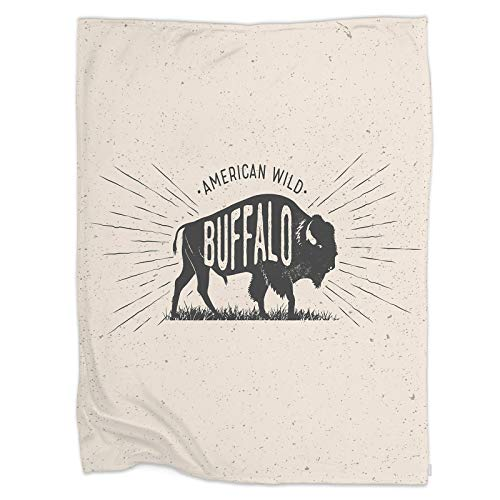 Swono Wild Buffalo Throw Blanket,Vintage Styled Vector Illustration of The American Buffalo Thorw Blanket Soft Warm Decorative Blanket for Bed Couch Sofa Office Blanket 60'X80'