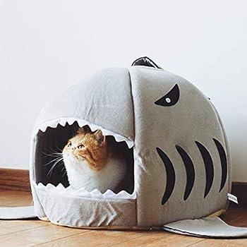 Lit de Chat/Chien, Lit 2 en 1 pour Animaux de Compagnie Shark Pliable Portatif pour Chien/Chat Grotte avec Tapis de Peluche épais Amovible Lavable et Chaud Chaud