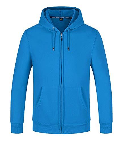 SELENECHEN Herren Sweatjacke Kapuzenpullover Sweatshirt Zip-Hoodie Herren Pullover Plus Samt Hoodie Sweat Hoody Sweatshirt Mit Reißverschluss (Blau, L)