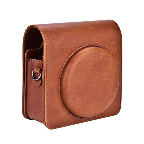 Zyyini Schutzhülle Tasche Kompatibel für Fujifilms Instax Mini SQ6 Sofortbildkamera mit Schultergurt - PU-Leder(Braun)