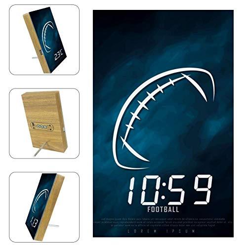 TIZORAX Wecker American Football Muster Digitale LED-Uhr für Büro Küche Wohnzimmer Schlafzimmer Desktop mit USB-Ladefunktion
