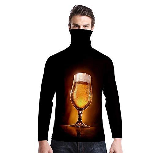 T-Shirt À Manches Longues,Casual Long Sleeve Imprimé Delicious Yellow Bière Col Rond Unisex T-Shirt Tops Imprimé Chemisier Body Shirt avec Écharpe Hommes Hommes Automne Hiver Pullover Sweatshir