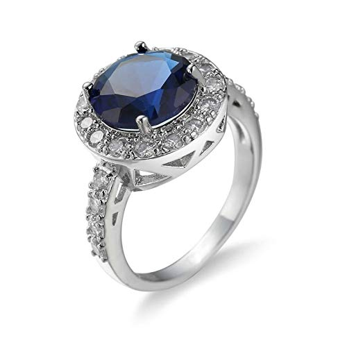 Malinmay Emerald EngageWoment Ring, Stainless Steel Simple Ring Woman's Zircon Ladies for Wedding Engagement Gifts Blue N 1/2