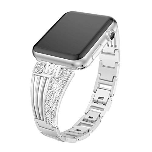 Correa de mujer para Apple Watch Series 6 SE 5 4 3 Band para IWatch 38 / 42mm 40 / 44mm Pulsera de eslabones de correa de acero inoxidable-plata, 38mm