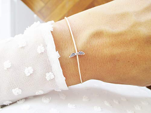 Armband mit Flügel Sterlingsilber Gold | Gedenkarmband Sternenkind Sternenmama Schutzengel | Beige Personalisiert | Weihnachtsgeschenk