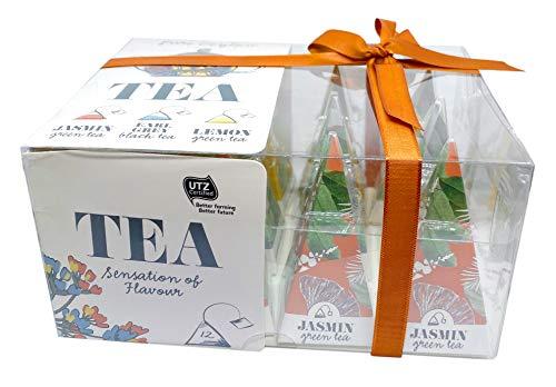 Teebeutel in Geschenkbox, Kollektion ausgewählter Grüntees & Schwarztee in 12 Pyramiden-Beuteln, 24 g