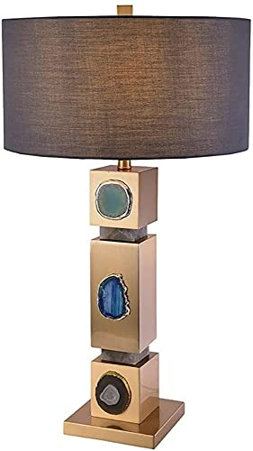 GDICONIC Lámpara LED Posmoderna Decoración Creativa Lámpara De Mesa Mármol Natural Ágata Estudio De La Personalidad Sala De Estar Dormitorio De Lujo Europeo Lámpara De Mesa 45 * 83 Cm