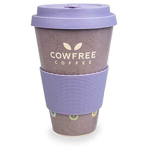 Myga RY1252 Chakra café Reutilizable de Fibra de bambú ecológica, Taza de Viaje Natural con Tapa de Silicona, Biodegradable orgánica 450 ml sin Goteo