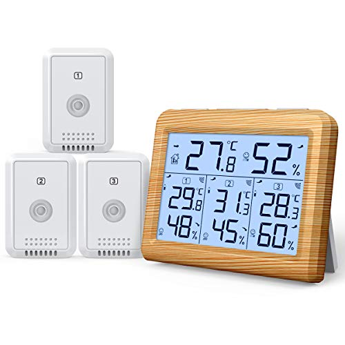 AMIR Indoor Outdoor Thermometer, 3 Channels Digital Hygrometer Thermometer...