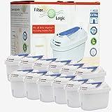 Filterlogic FL402E | Paquete de 12 - Cartucho filtrante Compatible con Brita Maxtra+ Plus Filtro Agua para Jarra de Agua...