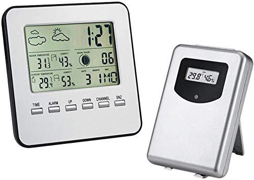 Reloj despertador Actualizar estación meteorológica termómetro digital interior para exteriores higrómetro sensor remoto estación meteorológica familiar reloj de humedad hermosa caricatura linda