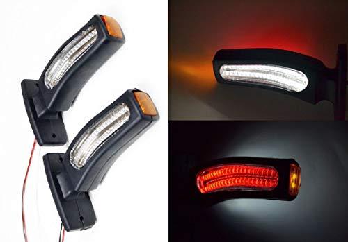 Lot de 2 lampes LED 24 V double fonction + indicateurs lumineux châssis camion remorque bus marquage E