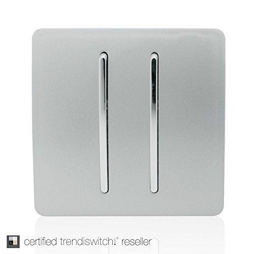 Trendi Commutateur Tactile à Bascule à 2 interrupteurs, va-et-Vient, Moderne Brillant, 10A, Couleur Argent, ART-SS3SI