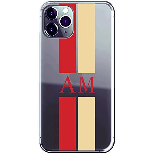 Cover con iniziali Personalizzate per Apple iPhone 11 PRO Max Custodia Morbida con Bordi Trasparenti - Stile con iniziali e Due bandelle Colorate