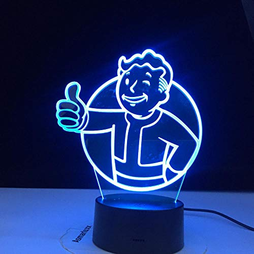 Lámpara de ilusión 3D Juego de luz nocturna LED Logotipo de Fallout Shelter para niños Decoración de dormitorio infantil Evento fresco Colorido Mesa USB