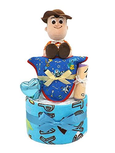 おむつケーキ ディズニー トイ・ストーリー フェイスタオル付き B 2段 男の子用 ck-620b (パンパースMサイズ)