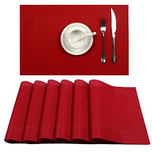 U'Artlines - Manteles individuales de vinilo tela, antideslizantes, aislantes, lavables, Rojo (Dk Red), 6pcs placemats