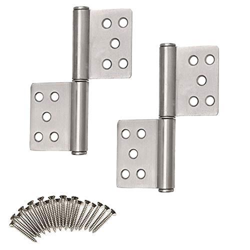 Edelstahl Türscharnier, 2 Stück Türband Beschlag Lager Scharniere Aufschraubbänder mit Blechschraube für Ungefälzte Holztüren und Innentüren (127,6 mm)