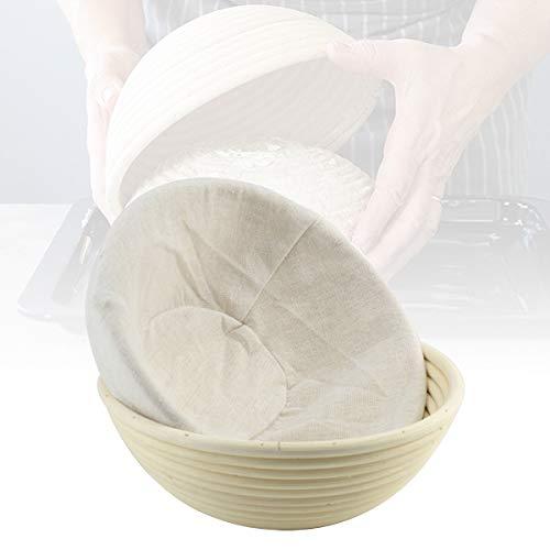 Tiggrioe Brot-Proofing-Korb mit Leinen Liner, Backteig Schale für Bäcker und Home Proving Baskets Sauerteig Brot Küche Werkzeug Teig Leavening Korb (22X22X8cm, A)