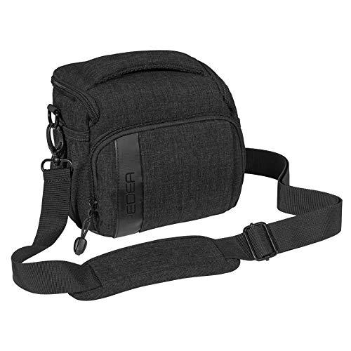 PEDEA DSLR-Kameratasche Fashion Fototasche für Spiegelreflexkameras mit wasserdichtem Regenschutz, Tragegurt und Zubehörfächern (Größe L, schwarz)