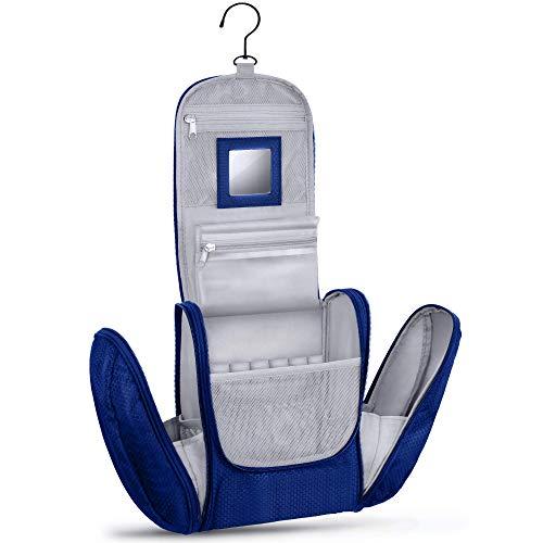 KRONIFY Bolsa de Aseo para Colgar Hombres y Mujeres I Neceser cosmético Hombre Grande Mujer para Maletas y Equipaje de Mano I Neceser de Viaje (Azul)