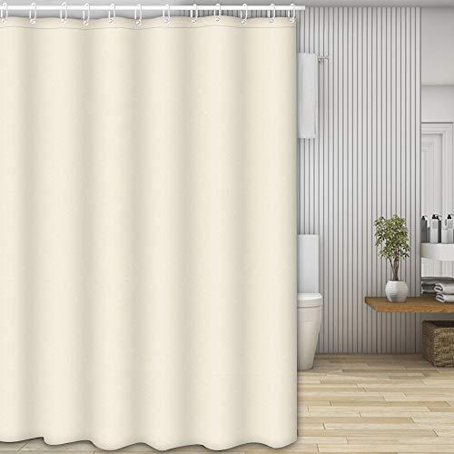 Nasharia Duschvorhänge, Waschbar Badvorhänge aus Polyester, Wasserdicht Anti-Schimmel, Anti-Bakteriell mit 12 Duschvorhangringe Design, 180 x 200cm, Beige