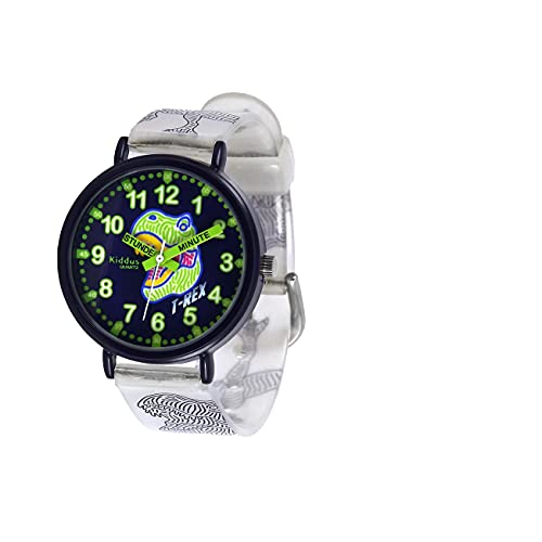 KIDDUS Lern Armbanduhr für Kinder, Jungen und Mädchen. Analoge Armbanduhr mit Zeitlernübungen. Zeit Lehrer. Time Teacher. T-Rex. Minuten und Stunden Beschriftet Fluoreszierend