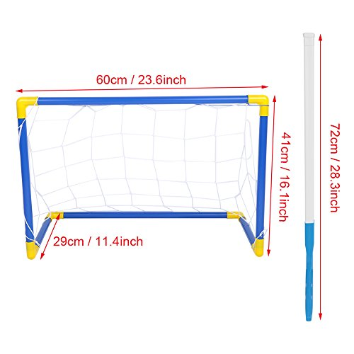 Alomejor Kinderspielzeug Schwebeball Fußballspielzeug-Set 2-in-1 Fußballtornetz mit 2 Toren EIN aufblasbarer Ball Eishockey-Puck-Set Indoor Outdoor Sports Ballspiel für Kinder