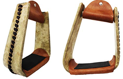 CHALLENGER Horse Western Saddle Rawhide Leather Covered Angled Roper Stirrups 51174