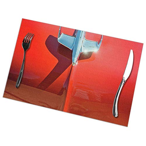xuexiao Placemats,Placemats for Table Set,Heat-Resistant Placemats, Washable PVC Table Mats, Kitchen and Reataurant.Set of 6 -Hood-Ornament-On-A-Red-55-Chevy-