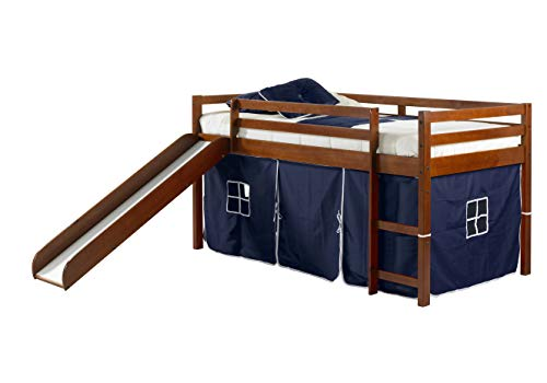 Donco Kids Loft Bed with Slide and Blue Tent Twin Light Espresso