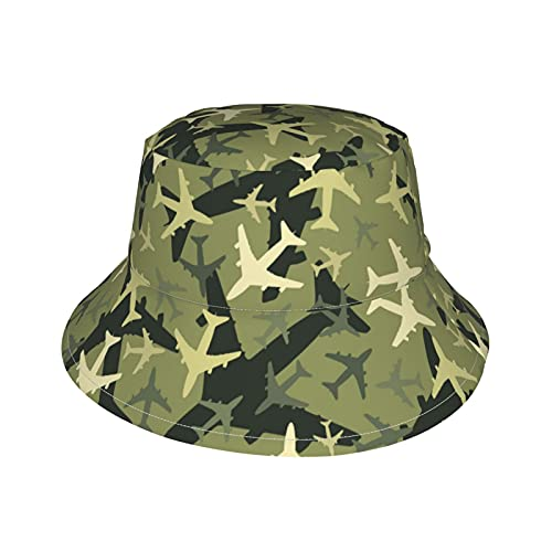 Green Military Camouflage Airplane Newborn Baby Sun Hat Adjustable Bucket Hat Novelty Beach Hat for Baby Boys and Girls