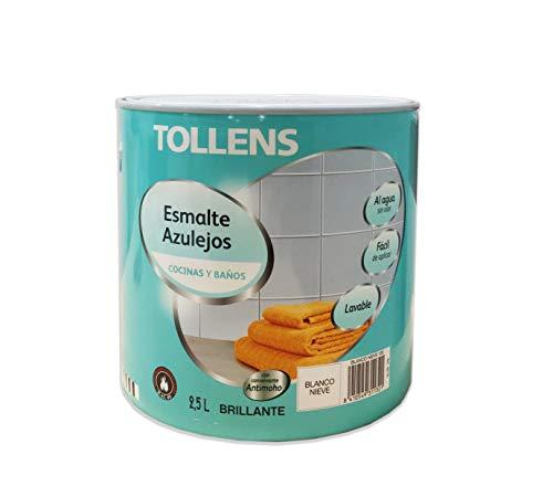 Tollens - Esmalte para azulejos al agua BRILLANTE 2,5 L Impermeable sin olor acabado liso (Blanco Nieve 100)