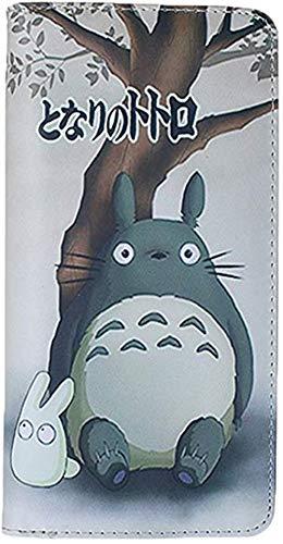 Double Villages Anime Totoro Muster Karikatur Trifold Schließung Brieftasche Münze Lange Geldbörse Identifizierung Karte Halter PU Leder Lange Brieftasche (Grau)