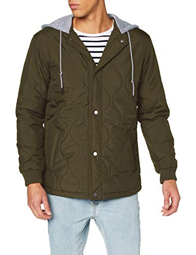 Urban Classics Herren Quilted Hooded Jacket Jacken, Dark Olive, L