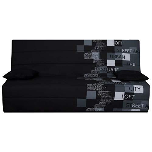 Générique SPLOT Banquette clic-clac 3 Places - Tissu Motif Urban Street - Style Contemporain - L 190 x P 95 cm