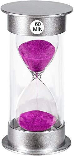 Sanduhr 60 Minuten Sanduhr Timer, Kleine Lila Sanduhr 60 Minuten, Silber Kunststoff 1 Stunde Glas Sanduhr Timer für Kinder, Spiele, Klassenzimmer, Küche, Dekor (60 Min)