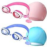 Osuter 2 Piezas Gafas de Natación Antivaho Silicona Gafas de Natación Infantil y 2 Piezas Gorro de Natación para Niños Accesorios de Natación