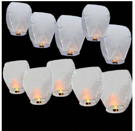 Digital Additions Lanternes Volantes Chinoises Sky Blanc 20 pièces, Bambou, 33 x 33 x 86 cm