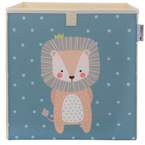 Kinder Aufbewahrungsbox von ELLEMOI Faltbare Spielzeug Box (33x33x33) zur Aufbewahrung im Kallax Regal (Junger Löwe)