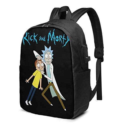 Ri-ck and Morty School Bag/Backpack/Backpack/Leisure Bag/Travel Bag with USB Charging Port and Earphone Port (17 Inch, Black)