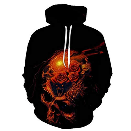 SLYZ Men's Autumn and Winter Personality Large Size Skull 3D Printing Round Neck Hooded Men's Sweater