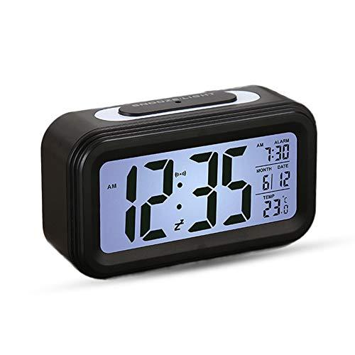 Reloj Despertador LCD Digital, Multi-Funciones Alarma Inteligente Muestra Hora, Temperatura, Fecha Silencioso como Regalo Creativo para los Viejos Niños Dormitorio Oficina (Negro)