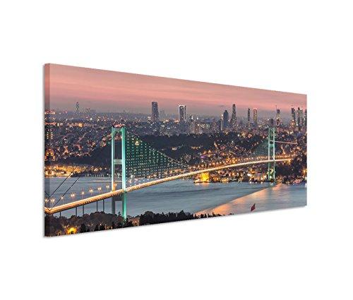Paul Sinus Art 150x50cm Leinwandbild auf Keilrahmen Istanbul Bosporus Brücke Stadt Lichter Nacht Wandbild auf Leinwand als Panorama
