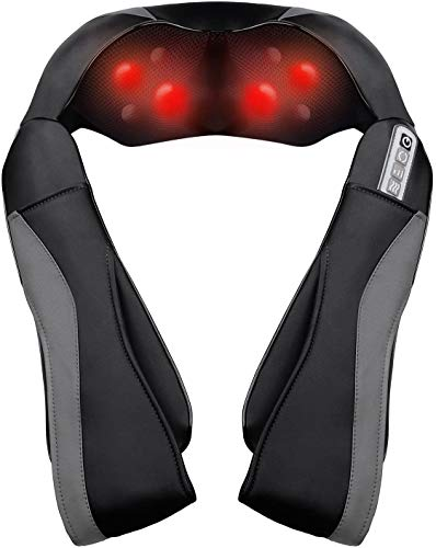 Shiatsu Neck Shoulder Massager for Back with Heat Function, Electric Massage with 3 Speed Settings, Heat Deep Kneading Massage for Muscle at Home