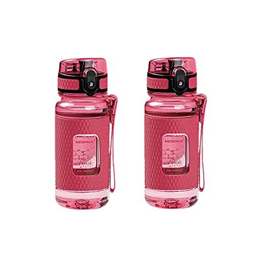 Conjunto De 2 A Prueba De Fugas Botella De Agua Deportiva,Eco-Amable BPA Free Tritan Plástico Botella De Agua,Reutilizable Taza De Viaje con Filtro,Protable Botella para Corriendo -B 350ml