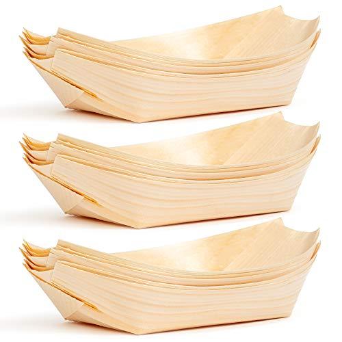 100 Platos de Bambú en Forma de Botes Desechables - Ecológicos, Biodegradables, Barbacoas, Recepciones de Bodas, Picnics, Buffets y Más.
