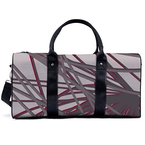 Bolsa deportiva para gimnasio, color gris y burdeos, moderna y elegante, abstracta, para yoga, bolsa de hombro, bolsa de viaje, bolsa de viaje para hombres y mujeres